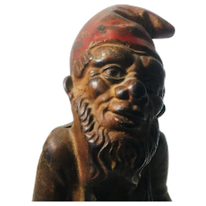 Antique Cast Iron Toy Gnome. Beautiful Original Patina