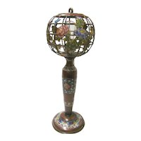 Champleve Bronze Table Lamp and Shade