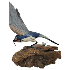 Western Bluebird Wood Carving signed by C.R. Clark