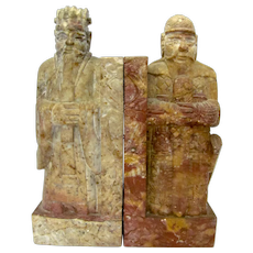 Chinese Hand Carved Soapstone Samurai Warrior Bookends