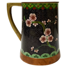 Cloisonne Mug with Red and Yellow Flowers