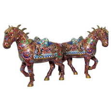 Pair of Cloisonne Tang Standing Horses