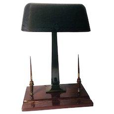 Antique Emeralite Bankers Desk Lamp w/ Wahl pens- 14k nibbs
