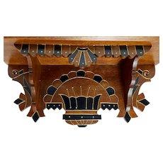 Eastlake Victorian Walnut Clock Shelf