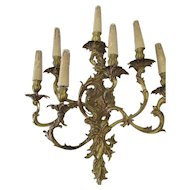 French Bronze 7 Arm Wall Sconce