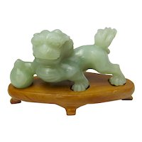 Chinese Carved Jade Foo Dog on Stand