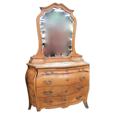 French Bombay Inlaid Marble Top Dresser and Mirror with Glove Boxes