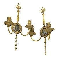 French Bronze Gold Gilt Sconces