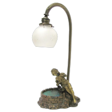 French Bronze Lamp Boy at Well