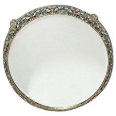 French Enameled Beveled Plateau Mirror