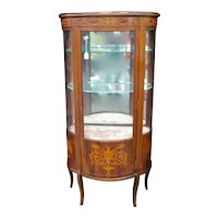 French Inlaid Curved Glass Curio