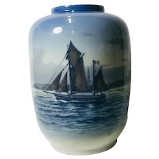 Royal Copenhagen Vase with Sailing Ship or Nautical theme, blue tint. 2562-888