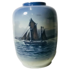 Royal Copenhagen Vase with Sailing Ship or Nautical theme, blue tint. 2562-888