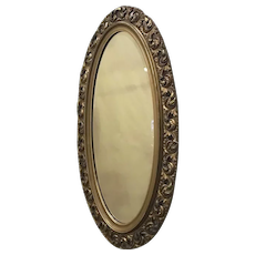 Large Oval Gilt Mirror with Bevel Plate c 1900's