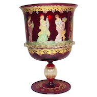Italian Venetian Salviati Murano Hand Enameled Ruby Glass Chalice