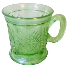 Pittsburgh Green Carnival Glass Cup
