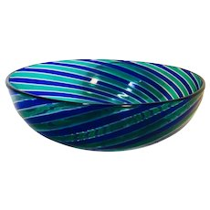 Murano Hand Blown Blue Swirl Bowl