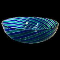 Murano Hand Blown Blue Swirl Bowl