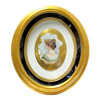 Victorian Hand Painted Porcelain Plaque in Gold Gilt Frame