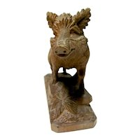 Hand Carved Black Forest Boar