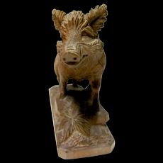 Hand Carved Black Forest Boar