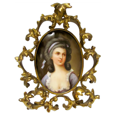 Victorian Hand Painted Porcelain Plaque of Woman in Brass Frame