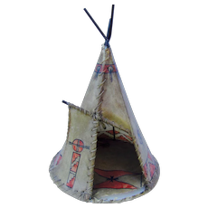 Indian hand painted tepee lamp