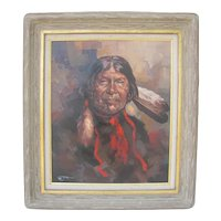 Indian warrior oil on canvas signed by Jordan