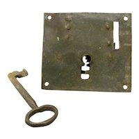 18th Century Iron Lock and Key