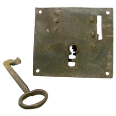 18th Century Iron Lock and Key