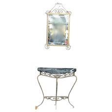 Iron Marbletop Console with Mirror