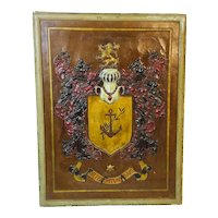Hand Chased Leather Coat of Arms - family crest.