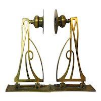 Art Nouveau Brass Candle Holders, Pair