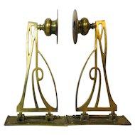 Art Nouveau Brass Candle Holders, Pair