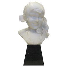 Marble Carved Bust by Dante Zoi Italian Young Girl in Hat on Stand