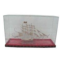 Sterling Silver Ship in Glass Box
