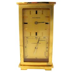 Brass Movado Clock with Thermometer, Hygrometer