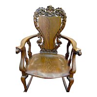 Oak Victorian Hand Carved Rocker