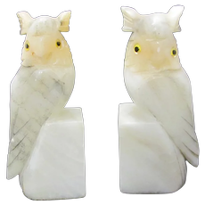 Owl Alabaster Bookends