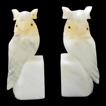 Owl Alabaster Bookends