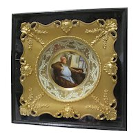 Framed Porcelain Portrait Plate Monk