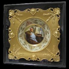 Framed Porcelain Portrait Plate Monk