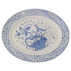 "Oval Wedgwood Platter Blue and White ""Betrice"""