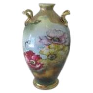 Nippon Porcelain Vase Hand Painted Side Handles