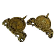 Pair Bronze French Mounts Fine Casting