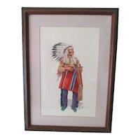 Indian Chief 2 Moon  Watercolor