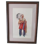 Indian Chief 2 Moon  Watercolor