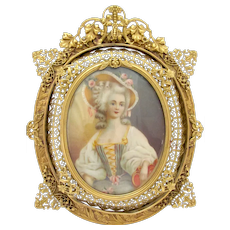 Painted  Portrait in Intricate Frame
