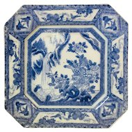 Great Old Chinese Plate with Blue Dog