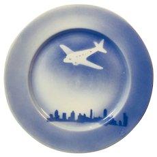 O.P.C.O. Syracuse Blue Plate with Airplane Motif